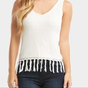 Sweater tank top with frindge